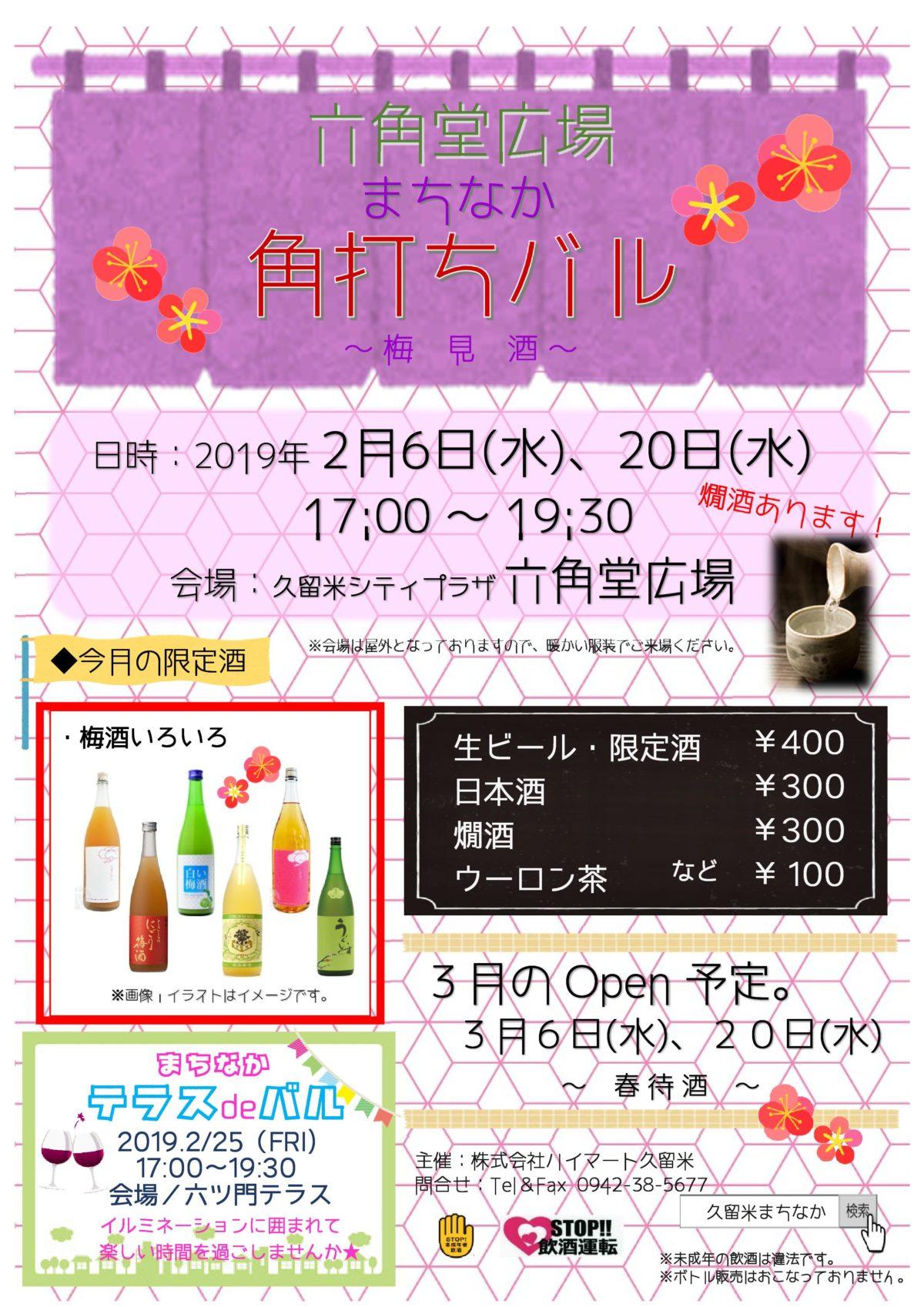 """【角打ちバル~梅見酒~】2月のテーマは春の訪れを意識した""""梅見酒""""!いろんな梅酒が集まります"""